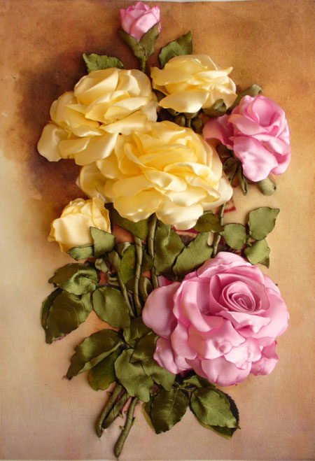 آموزش گل رز روبانی