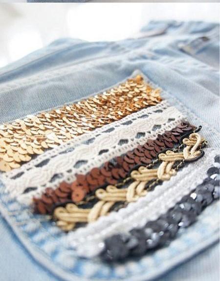 تزئین شلوارک جین دخترانه