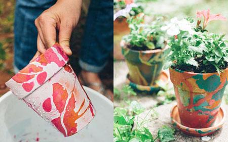 رنگ و تزیین گلدان با لاک ناخن