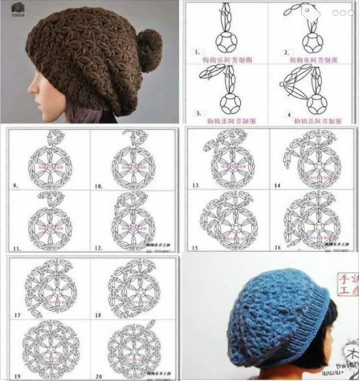 نقشه بافت کلاه دخترانه با قلاب