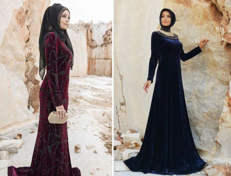 مدل لباس مجلسی بلند مخمل4