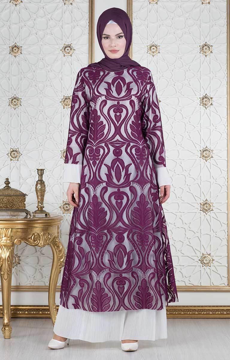 مدل لباس مجلسی گیپور استین بلند