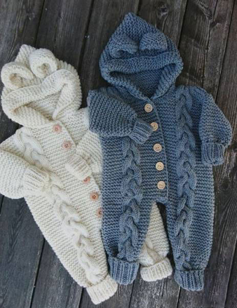 انواع مدلهای لباس بافتنی نوزاد پسر - سرهمی  کلاه دار آستین کشباف