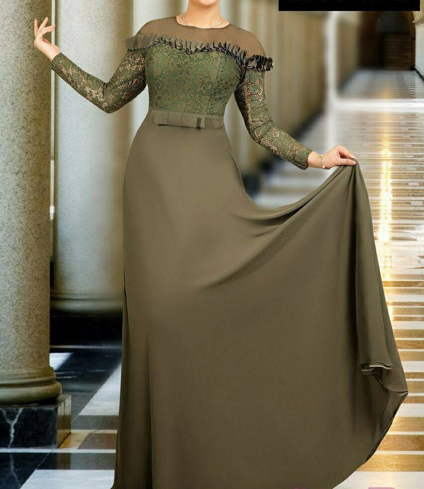 مدل لباس مجلسی بلند دخترانه کرپ