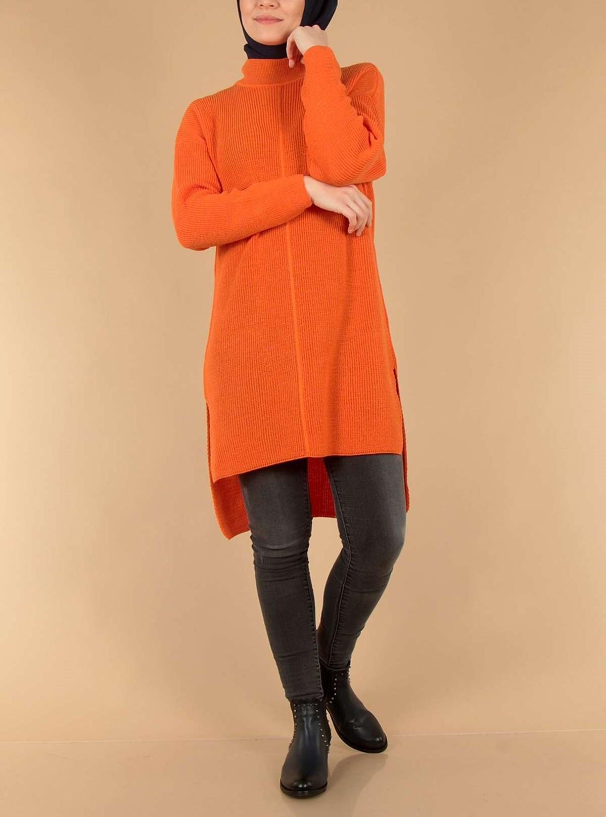مدل تونیک بافتنی دخترانه نارنجی 98
