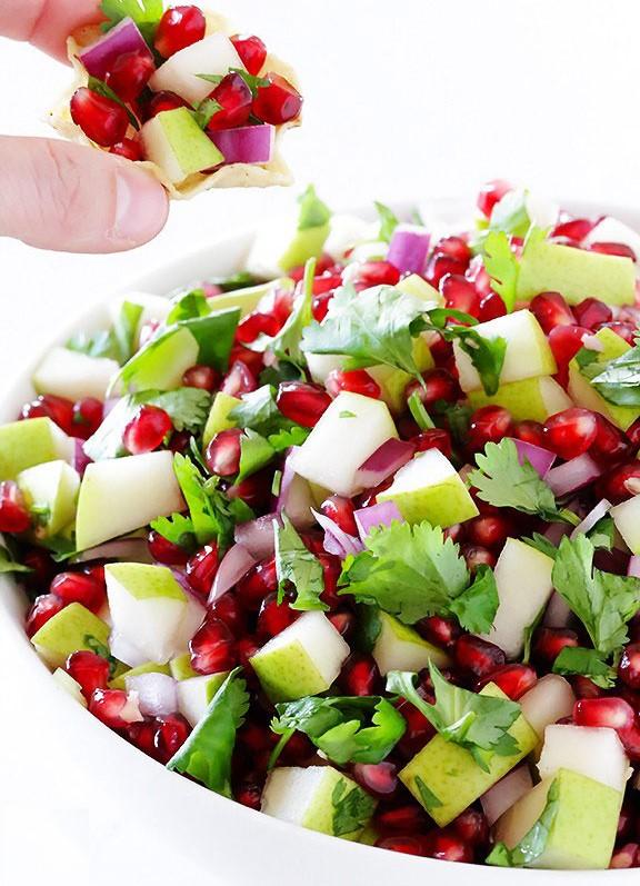 خواص انار،خواص گلابی،سالاد میوه، طرز تهیه سالسا، غذای مکزیکی،(طرز تهیه سالاد انار و گلابی + خواص آن (سالسای انار)