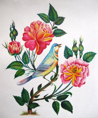 نقاشی گل و مرغ