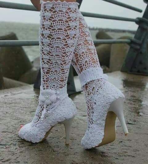 مدل پاپوش بافتنی عروس 2