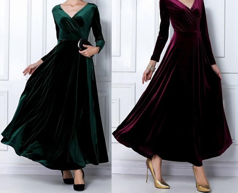 مدل لباس مجلسی مخمل بلند شیک