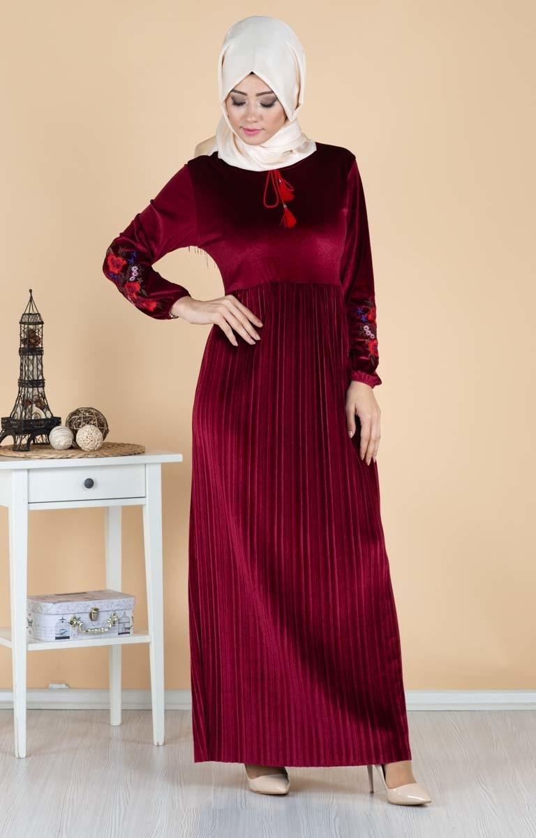 مدل لباس مجلسی بلند پارچه مخمل