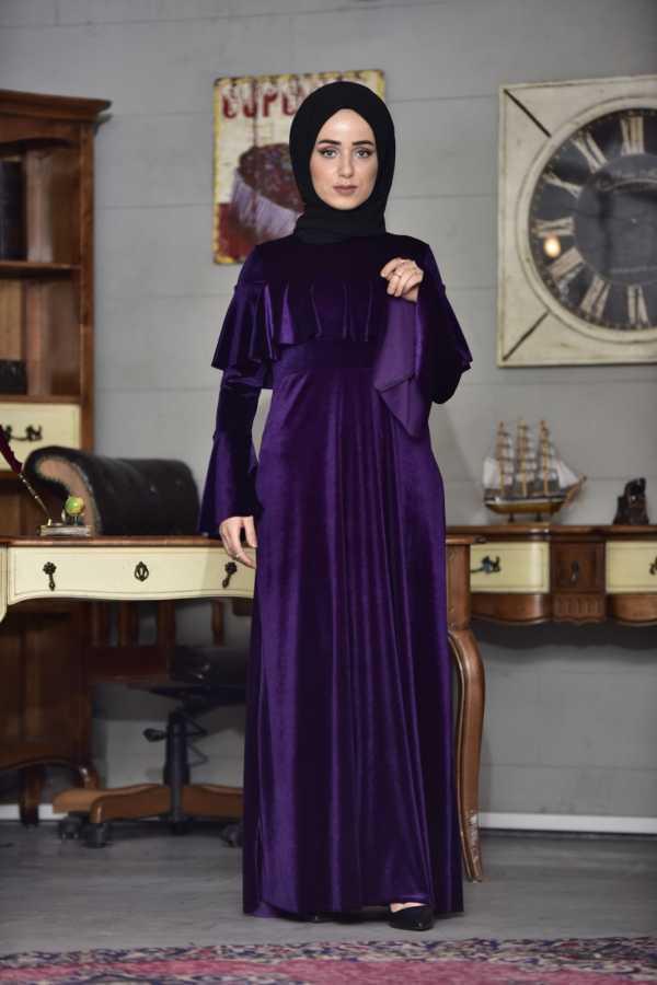 مدل لباس مجلسی مخمل با گیپور