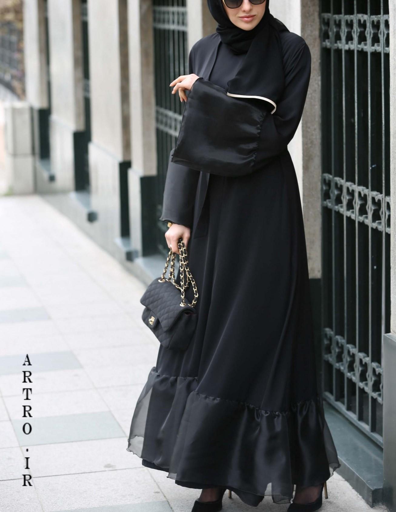 مدل مانتو مشکی بلند جدید دخترانه