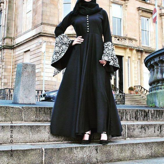 مدل مانتو بلند با پارچه مشکی
