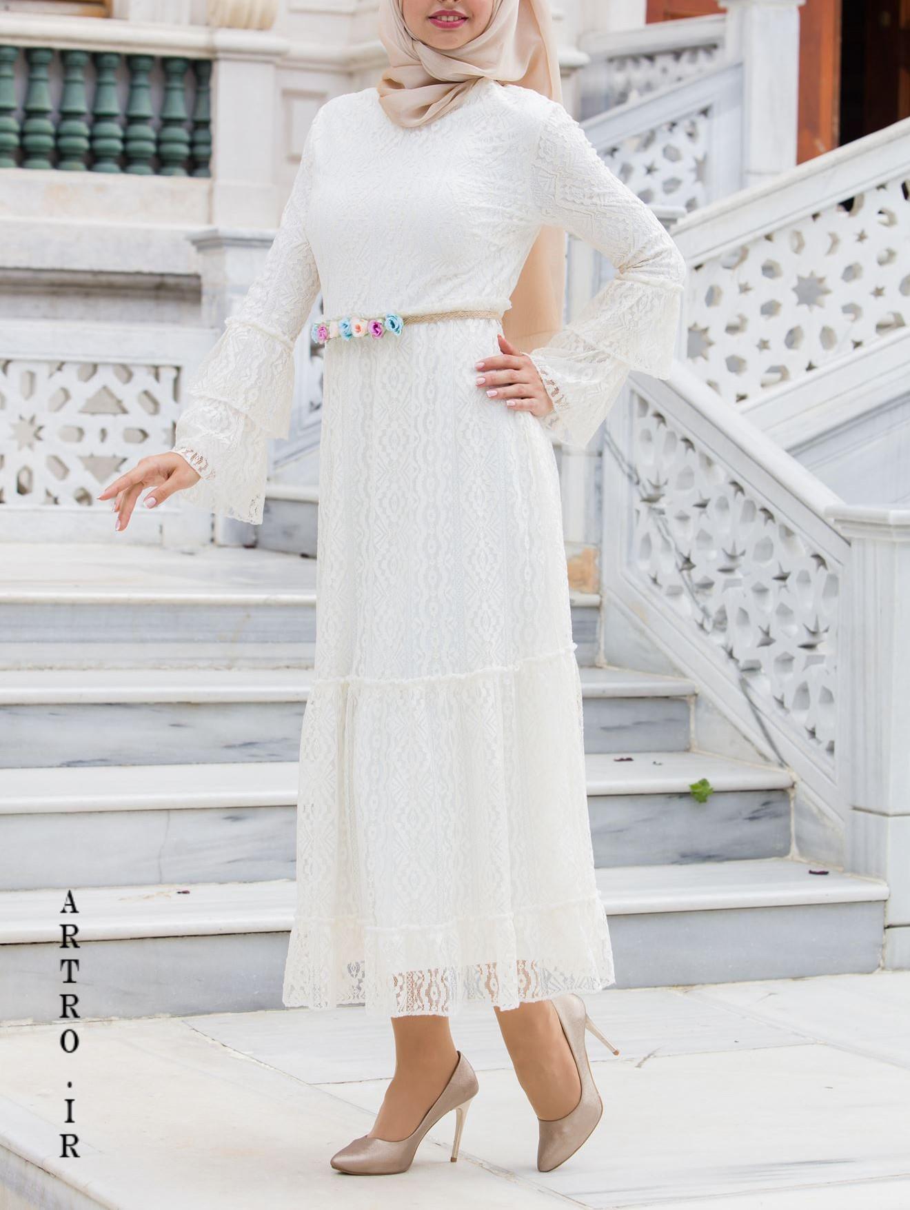 مدل لباس عروس با حجاب کامل