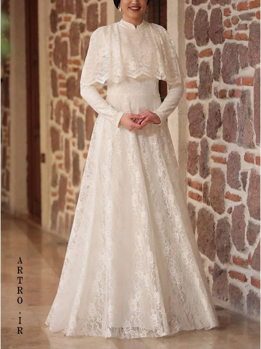 مدل لباس عروس پوشیده با حجاب
