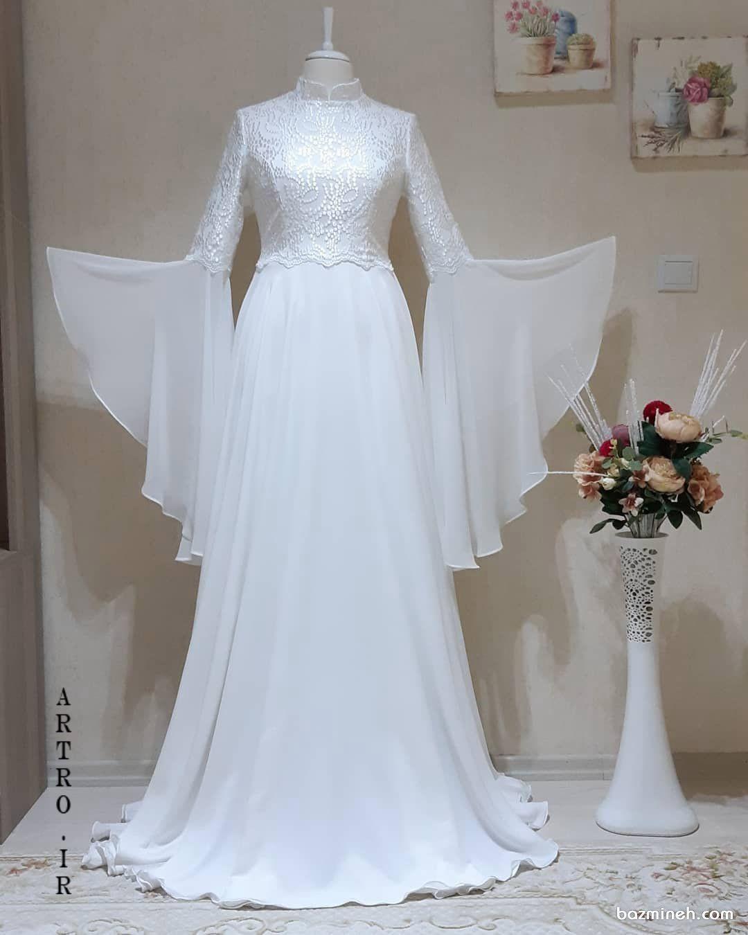 مدل لباس عروس جدید آستین دار