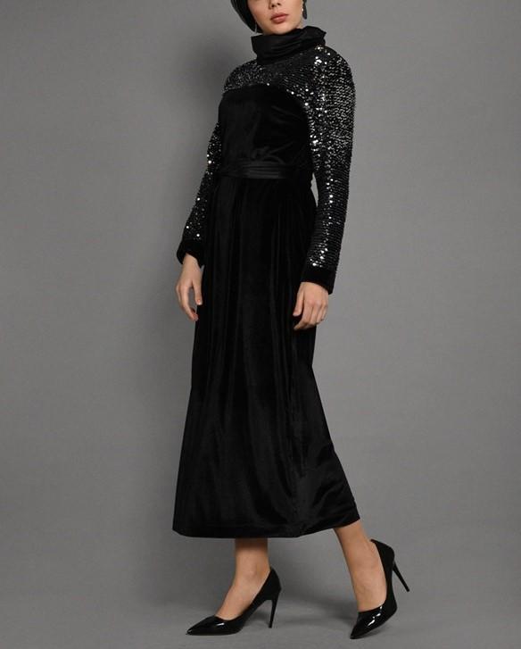 مدل لباس مجلسی بلند زنانه با پارچه لمه