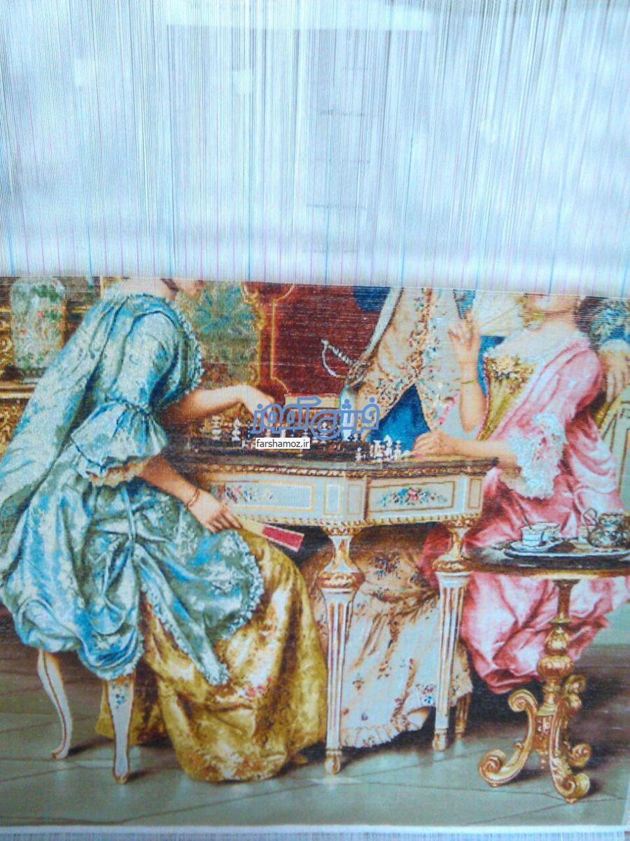 عکس تابلو فرش شطرنج باز دو نفره در حال بافت  2