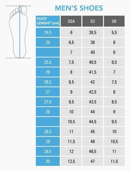 جدول تبدیل سایز کفش