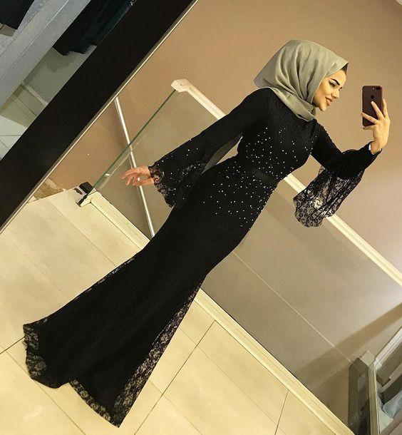 مدل لباس مجلسی بلند پوشیده زنانه 2019