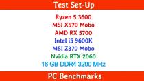 Ryzen 5 3600 +  RX 5700 vs i5 9600K +  RTX 2060