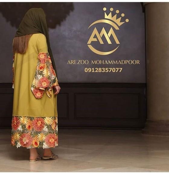 مدل مانتو مجلسی با پارچه گلدار