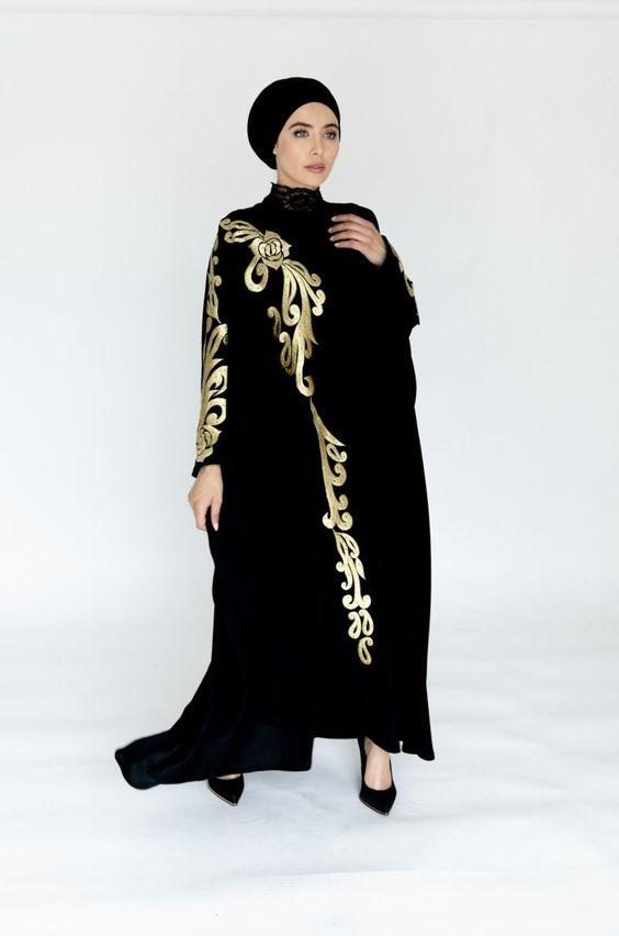 مدل مانتو عبایی عربی طرح دار