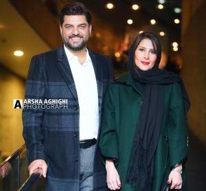 سام درخشاني در کنار همسرش در جشنواره فيلم فجر 98