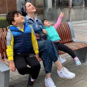 شيلا خداداد با بچه هاش نشسته روي نيمکت