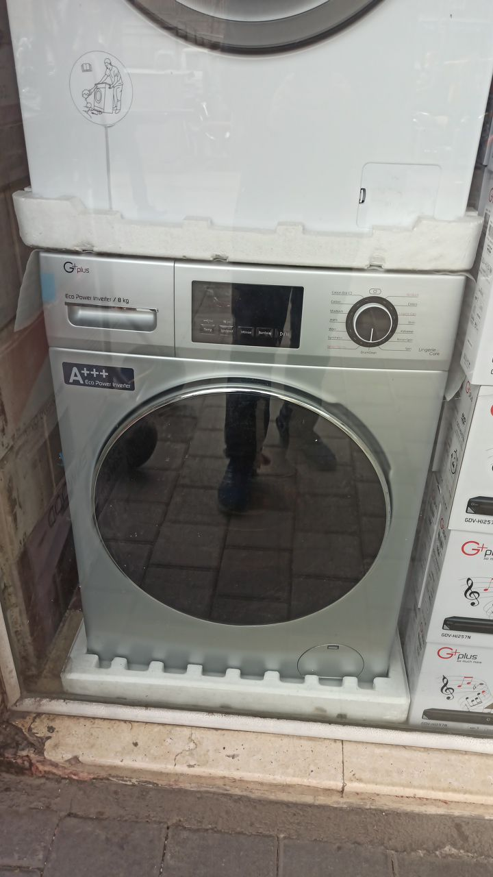 ماشین لباسشویی جی پلاس 8 کیلویی 1400 دور مدل 8470 رنگ سیلور