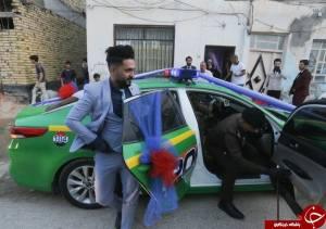 عروس و داماد با ماشين پليس به خانه خود رفتند