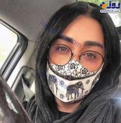 سارا منجزي پور با ماسک عجيب / سارا منجزي پور از مردم خواست ماسک بزنند