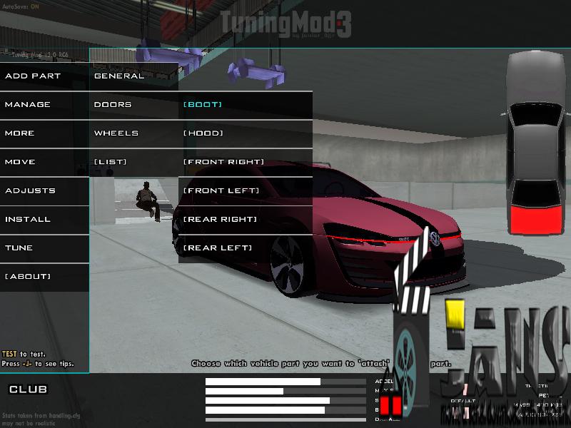 دانلود مود تیونینگ حرفه ای وسایل نقلیه برای GTA San Andreas