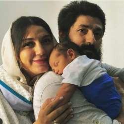 حديث ميراميني مادر شد / عکس سه نفره حديث ميراميني با شوهر و بچه اش