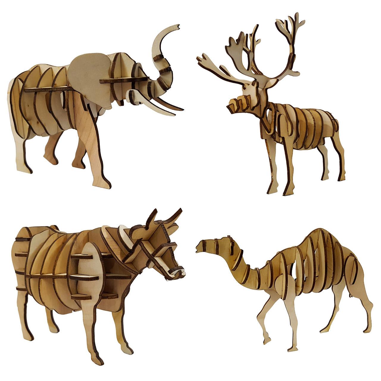 پازل چوبی سه بعدی برتاریو مدل حیوانات 3