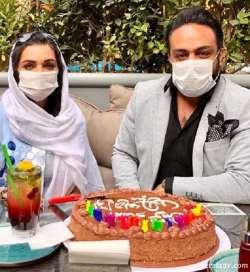 الهام پاوه نژاد،جشن تولد،ماسک،کيک تولد