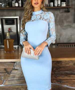 لباس مجلسي زنانه با رنگ آبي و آستين هاي توري
