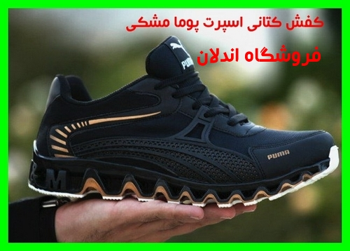 خرید ارزان قیمت کفش کتانی پوما مشکی نوار طلایی کفی طرحدار