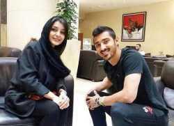 ساره بيات و رضا قوچان نژاد در يک عکس
