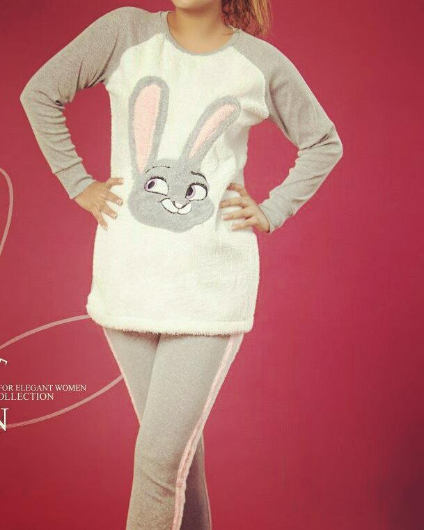 بلوز شلوار خز دار طرح خرگوش