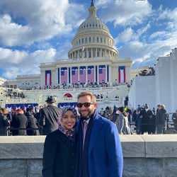 خانمی با حجاب در مراسم تحلیف جو بایدن رئیس جمهور آمریکا