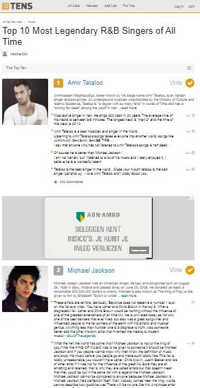 تتلو بهترین خواننده جهان شد؛ امیر تتلو با گذشتن از مایكل جكسون بهترین خواننده جهان شد