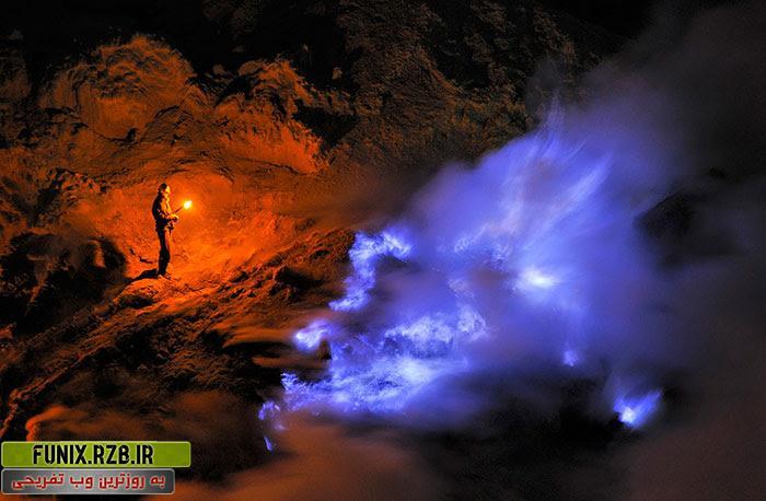 عکس های فوق العاده دیدنی از معدن گوگرد در نزدیکی آتشفشان