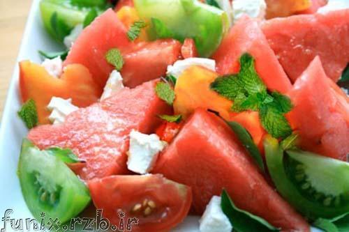 طرز تهیه سالاد گوجه با هندوانه