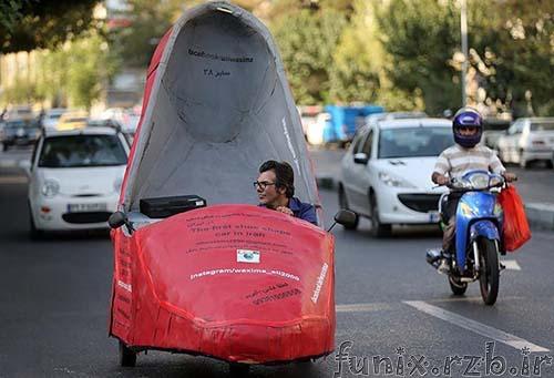علی واکسیما با ماشین جالبش در خیابان های تهران