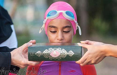 رکورد شکنی دختر شناگر ایرانی در دریای خزر