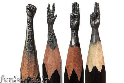 مجسمه هایی ساخته شده بر روی نوک مداد