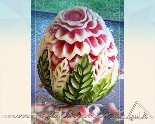 کنده کاری طرح های شگفت انگیز بر روی هندوانه