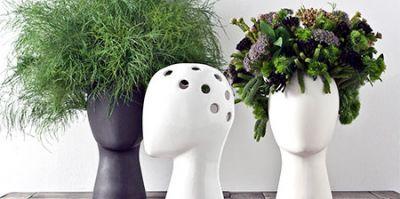 تصاویری از گلدانهایی با طرح سر انسان