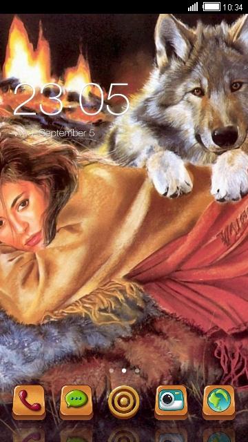 تم زیبای آندروید دختر و گرگ